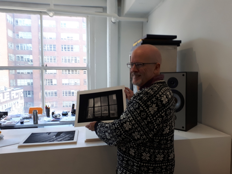Pierre Blache at La Castiglione Gallery, showing his digital photography prints to students from Michelle Sullivan's course, Current Trends in Digital Communication at McGill