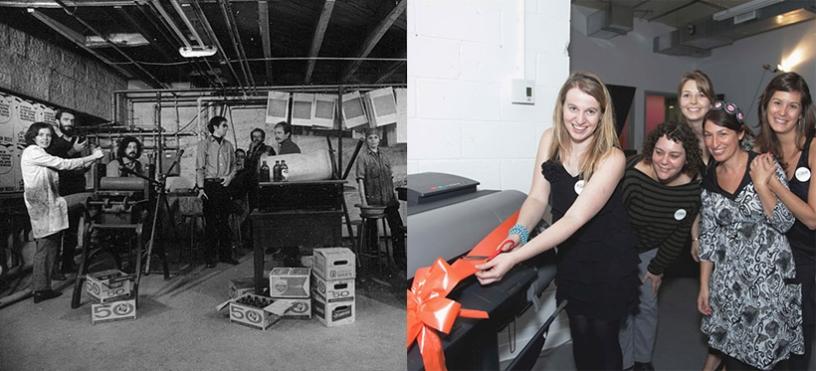 Gauche : L'Atelier Graff / Droite : le Cabinet, espace de production photographique