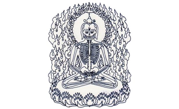 Éric Bolduc, libération, 2005, encre sur acétate, d'après une illustration du Bardo Thödol (Livre tibétain des morts)