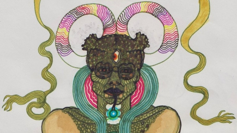 Éric Bolduc, Awakening the demon (detail), 2010, ink and watercolour on paper